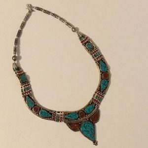 Jewelry - Tourquoise and brown stone silver necklace